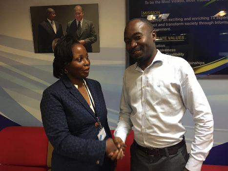 NTV Managing Director Aggie Konde bids farewell to outgoing Business News Editor Charles Bwogi