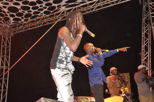 Radio and Weasel entertaining the crowd