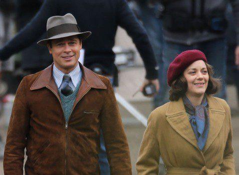 Brad Pitt and Marion Cotillard on set of their new film