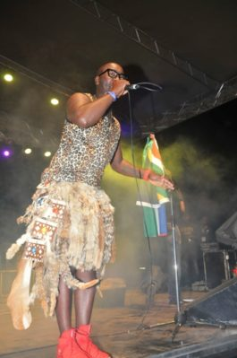 Dr Bone from South Africa performs at the Bayimba festival
