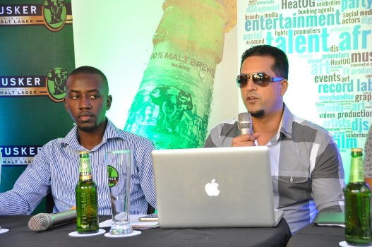 l-r-tusker-malt-brand-manager-alex-tusingwire-talent-africa-group-ceo-aly-allibhai-speaking-during-the-launch-of-the-kool-the-gang-press-conference
