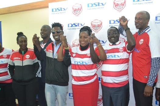 Express FC officials and DStv Officials celebrate the DStv sponsorship unveiling of Express FC at Golf Course Hotel worth UGX 300 million