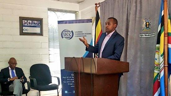 Frank Tumwebaze addressing the Press