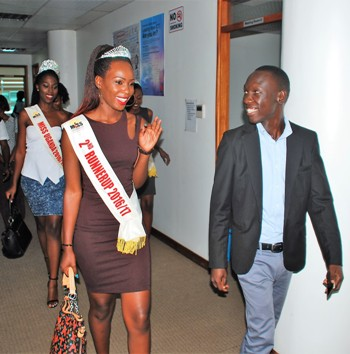 Sam Cris Ayo, Device Services Manager – Huawei Uganda gives Ritah Mutoni - 2nd Runner Up Miss Uganda and Miss Uganda 2016 winner – Leah Kagasa a tour of Huawei Uganda's offices during a courtesy meeting held at Miss Uganda offices on October 25th 2016. Huawei Uganda contributed a sponsorship package of 20 Million Ushs worth P9 smartphones and cash towards the organization of the Miss Uganda 2016