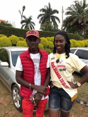 SK Mbuga with Miss Uganda Leah Kagasa